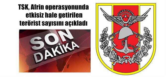 TSK, Afrin operasyonunda etkisiz hale getirilen terörist sayısını açıkladı