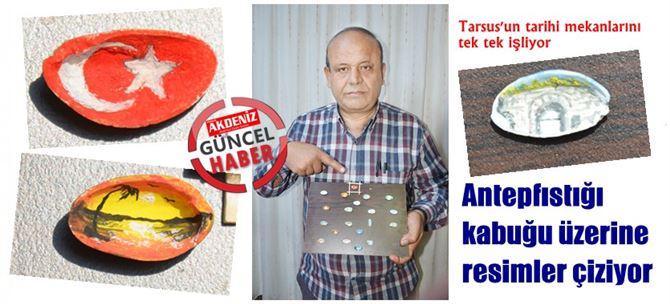 Antepfıstığı kabuğu üzerine Türk bayrağı çizdi