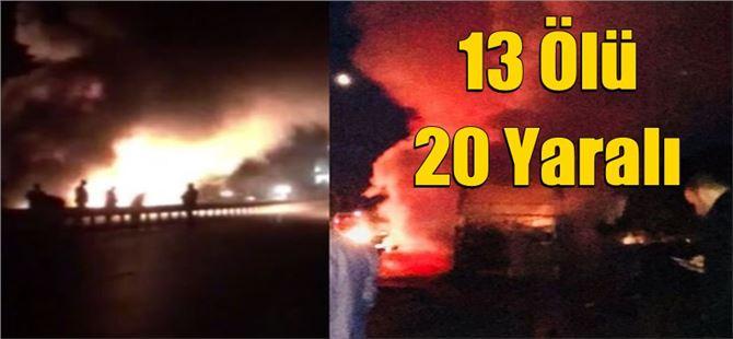 Çorum'da feci kaza: 13 ölü, 20 yaralı