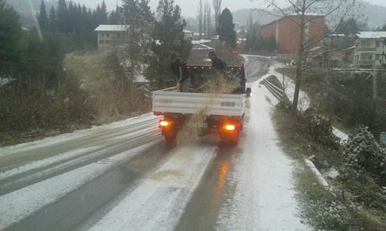Çamlıyayla'da kar tedbiri, yollar tuzlanıyor
