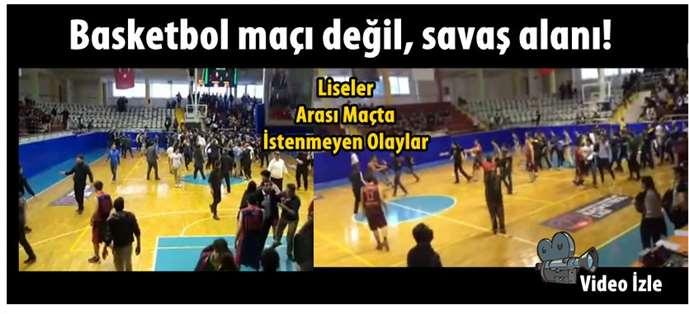 Tarsus'ta liseler arası basket maçında kavga çıktı