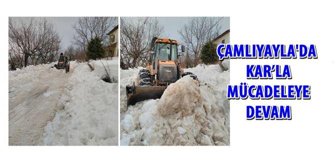 Çamlıyayla'da kar'la mücadeleye devam
