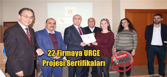 22 Firmaya URGE Projesi Sertifikaları