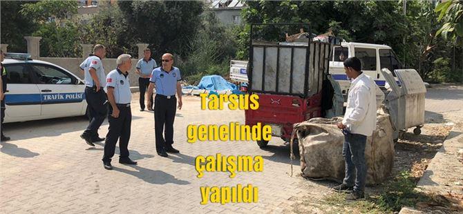 Tarsus'ta çöp toplama araçlarına el konuldu