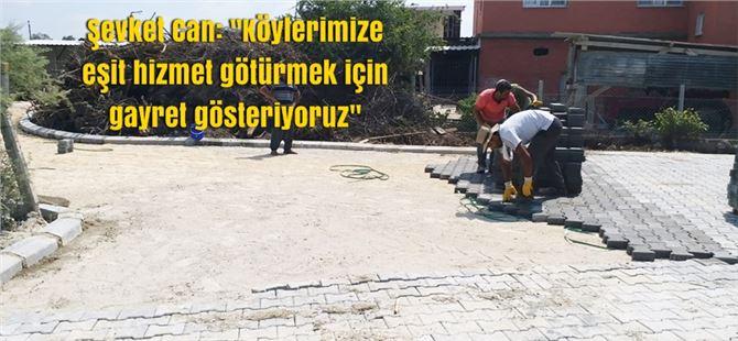 Tarsus'ta 70 mahallede 650 m2 parke taş döşemesi yapıldı