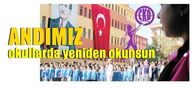 """Cumhuriyet Kadınları: """"Okullarda Andımız yeniden okunsun"""""""