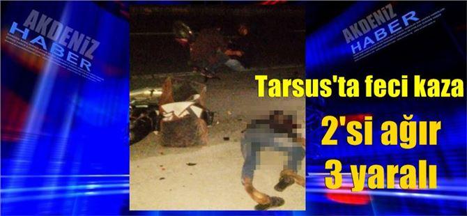 Tarsus iki motosiklet çarpıştı: 2'si ağır 3 yaralı