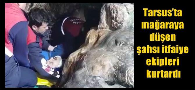 Tarsus'ta mağaraya düşen şahsı itfaiye ekipleri kurtardı