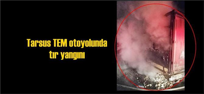 Tarsus'ta bisküvi yüklü tır'da yangın