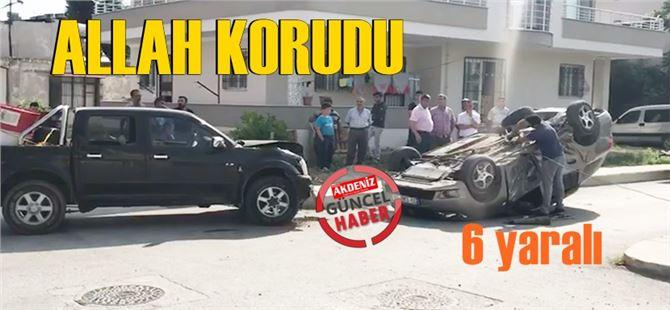 Tarsus'ta iki araba çarpıştı, 6 yaralı