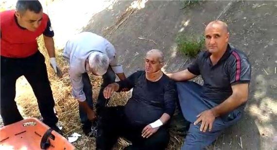 Mezarlık ziyaretinde atık su kanalına düştü