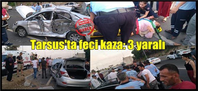 Tarsus'ta kamyon ile otomobil çarpıştı: 3 yaralı