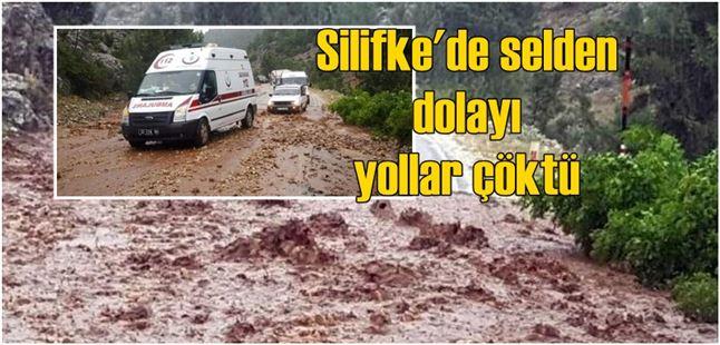 Silifke'de selden dolayı yollar çöktü