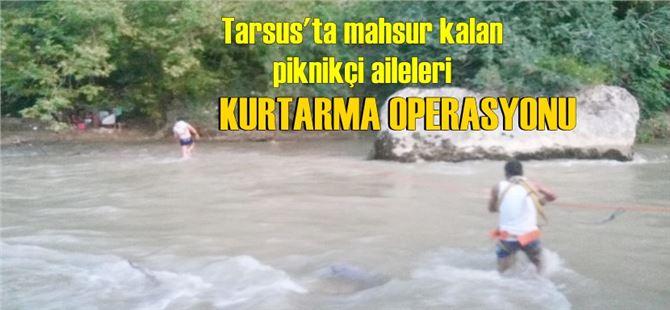 Baraj kapakları açıldı, iki aile mahsur kaldı