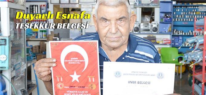 Tarsuslu vatansever esnafa Vakıflardan teşekkür belgesi