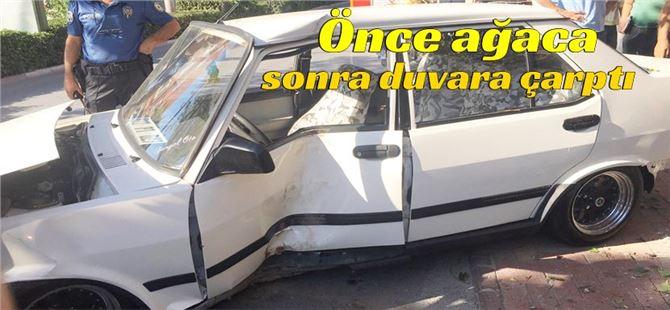 Tarsus'taki kazada araç duvara ve ağaca çarptı: 1 yaralı