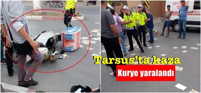 Tarsus'ta yemek dağıtım motosikleti kazaya karıştı: 1 yaralı