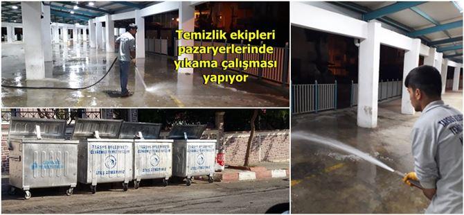 Tarsus Belediyesi temizlik işlerinden pazar alanlarında ilaçlı yıkama