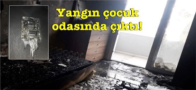 Tarsus'ta site içerisindeki binanın 6. katındaki evde yangın