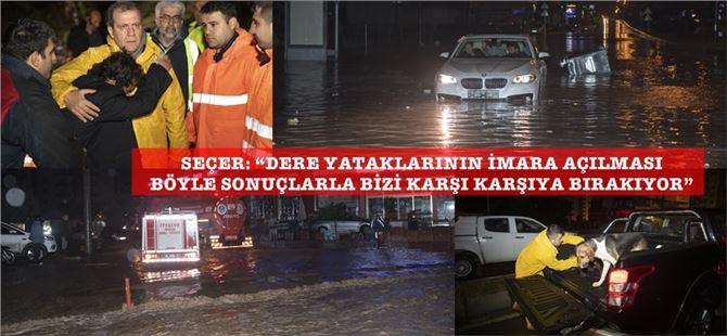 Şiddetli yağış Mersin genelinde hayatı olumsuz etkiledi