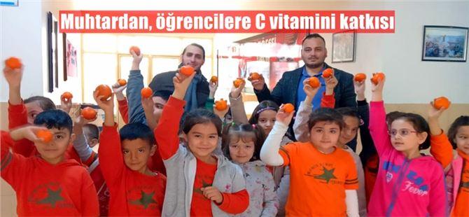 Muhtardan, öğrencilere C vitamini katkısı