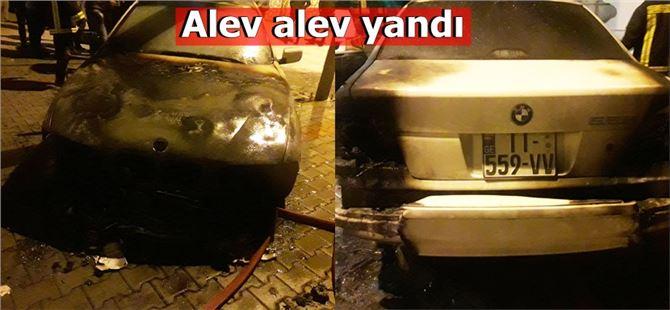 Tarsus'ta yabancı plakalı lüks araç yandı