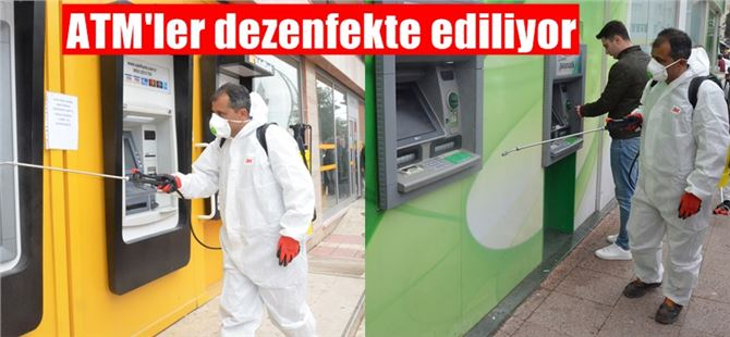 Büyükşehir ekipleri Tarsus'taki ATM'leri dezenfekte ediyor
