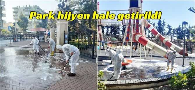 Büyükşehir'den Tarsus'un simgelerinden Kültür Park'ta dezenfekte çalışması