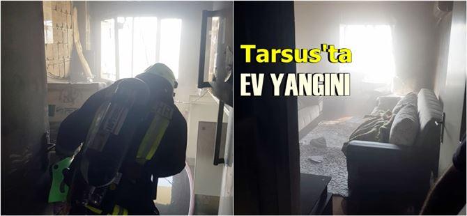 Tarsus kent merkezinde apartman dairesinde yangın