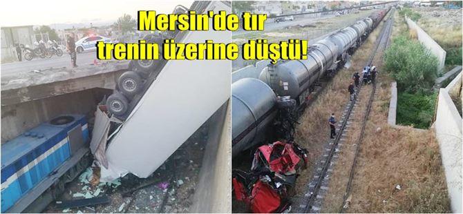 Mersin-Adana seferini yapan yük treninin üzerine tır düştü