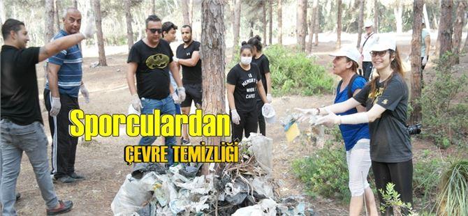Tarsus Belediyespor Kulübü sporcuları çevre temizliği yaptı
