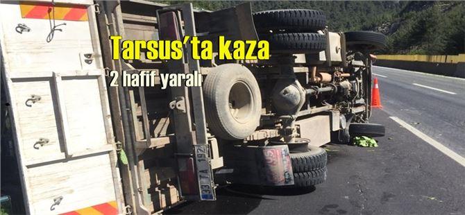 Tarsus-Ankara yolunda sebze yüklü kamyon devrildi