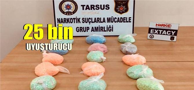 Yolcu otobüsünde 25 bin adet uyuşturucu ile yakalandı