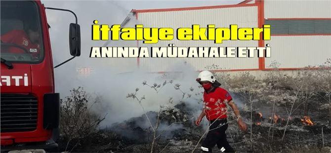Tarsus'ta paketleme tesisi yakınında korkutan yangın