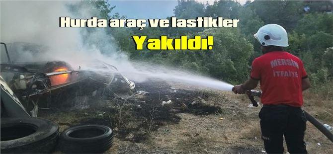 Tarsus'ta hurda araç ve lastikler yandı