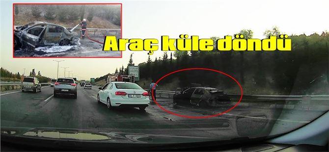 Tarsus TEM'de araç yangını