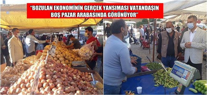 CHP İlçe Başkanı Ozan Varal, pazarda esnaf ve vatandaşlarla bir araya geldi