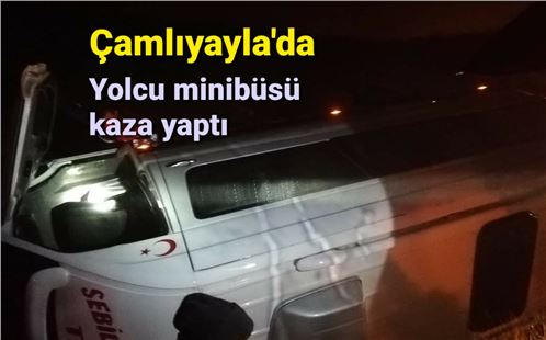 Çamlıyayla'da yolcu minibüsü takla attı
