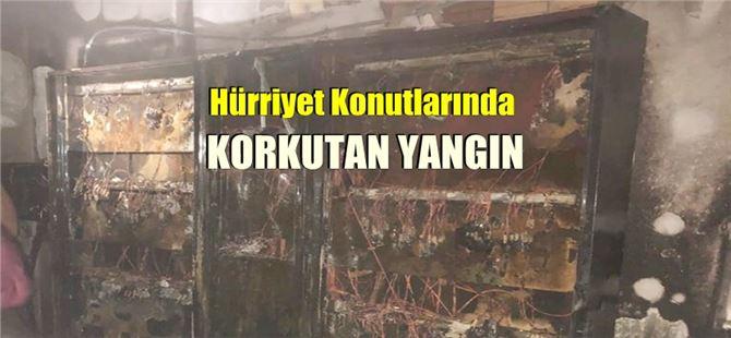 Tarsus Hürriyet Konutları'nda korkutan yangın