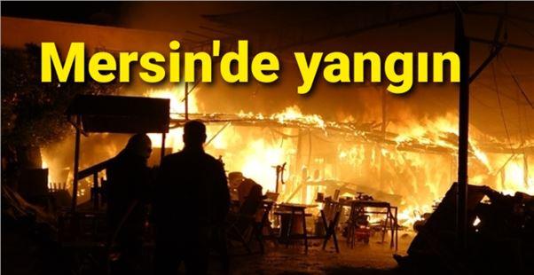 Mersin'de gece saatlerinde korkutan yangın