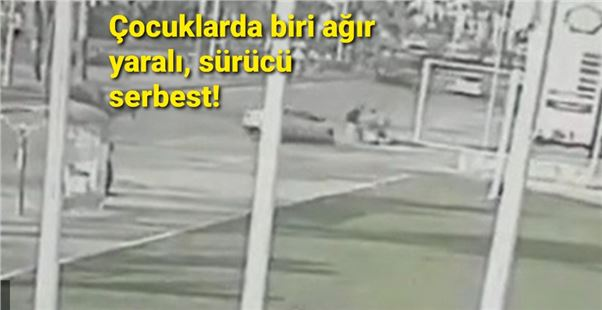 Mersin'de araç kaldırımda duran çocuklara çarptı