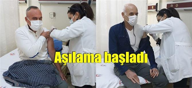 Tarsus'ta da sağlıkçılara COVID aşıları vurulmaya başlandı