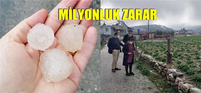 Tarsus'ta kırsal mahallelerde dolu yağışı hayatı olumsuz etkiledi