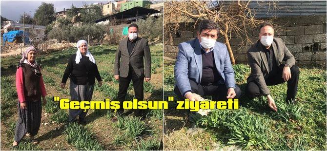 """Başkan Veyis Avcı'dan çiftçilere """"geçmiş olsun"""" ziyareti"""