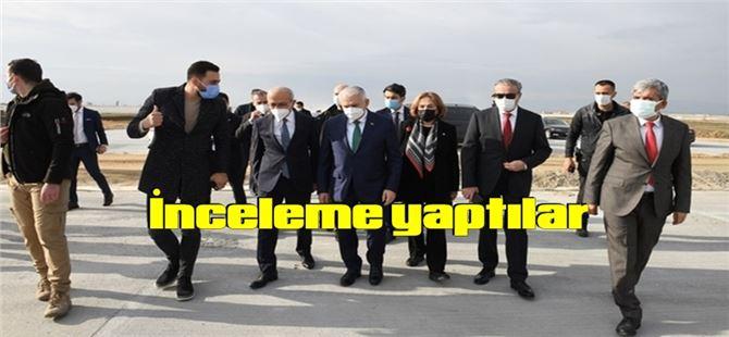 Elvan ve Binali Yıldırım, Tarsus'ta yapımı süren havaalanında inceleme yaptı