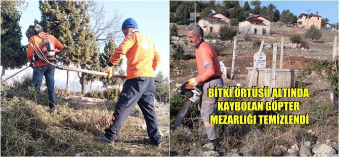 Büyükşehir, Çamlıyayla'da mezarlık alanlarda temizlik çalışmalarına devam ediyor