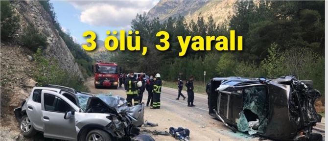 İki araç çarpıştı: 3 ölü, 3 yaralı