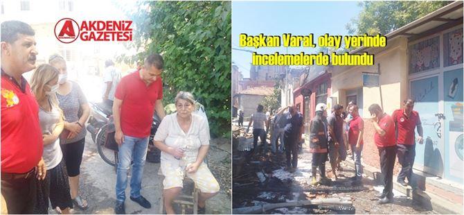 """Başkan Varal'dan evleri yanan aileye """"geçmiş olsun"""" ziyareti"""