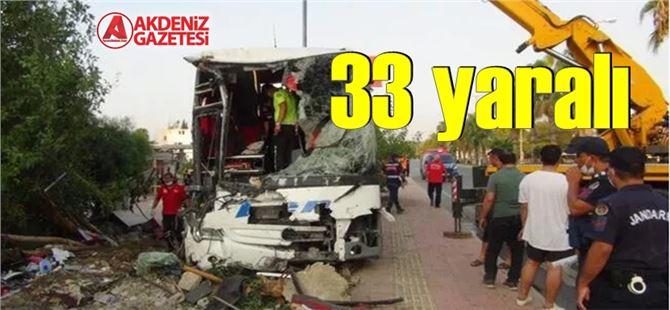 Mersin'de yolcu otobüsü kaza yaptı: 33 yaralı