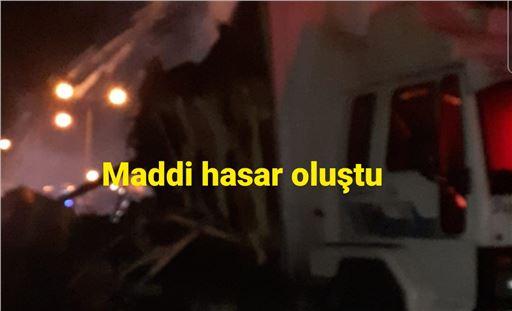 Tarsus TEM'de narenciye yüklü kamyon yangını